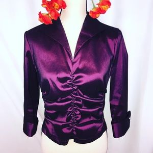 Purple ruched 3/4 sleeve dressy top jeweled button